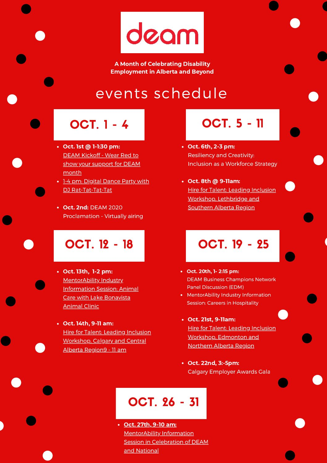 October DEAM Events